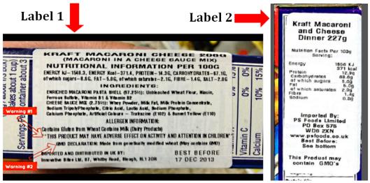 KD labels side by side